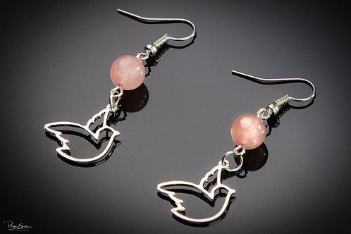 Boucles d'oreilles colombe quartz fraise