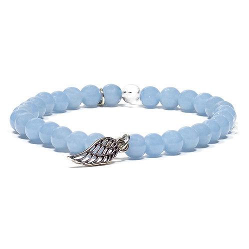 Bracelet en angélite avec aile d'ange