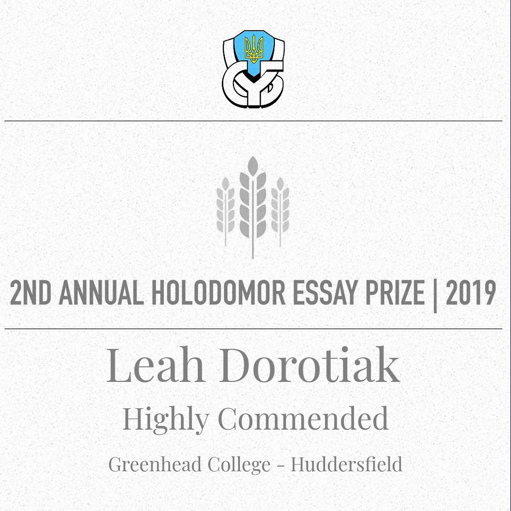 Holodomor Essay Prize 2019