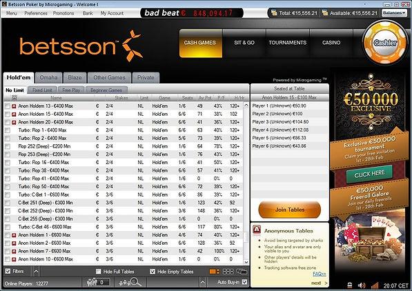 Betsson Poker lobby screenshot