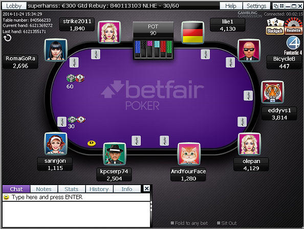 Betfair Poker Table Screenshot