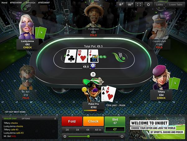 unibet poker table screenshot