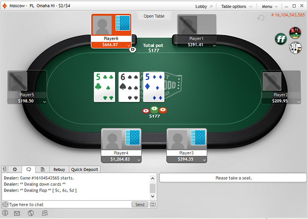 partypoker table screenshot