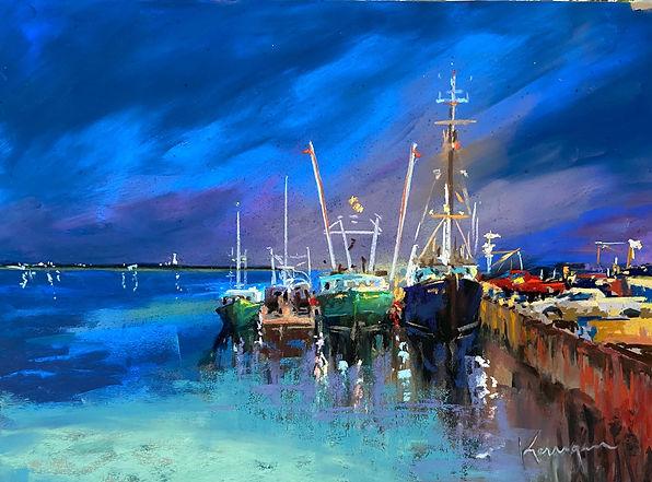 Night Harbor-Second-Pastel-Susan Kerriga