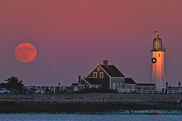 Full Beaver Moon at Scituate Light-First