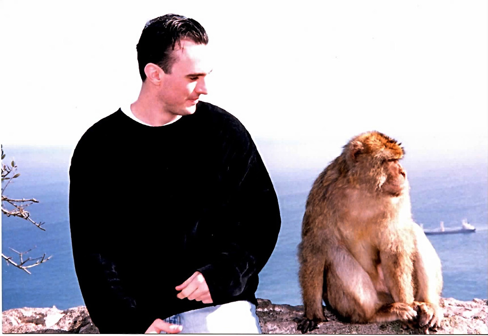 On top of the Rock of Gibraltar with a Monkey