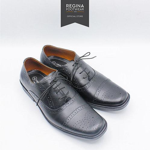 NewJustine - Sepatu Pantofel Kulit Asli Pria OX 29 - Black