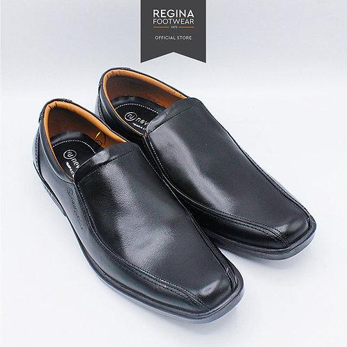 New Justine - Sepatu Pantofel Kulit Asli Pria OX 34 - Black Size 40/45