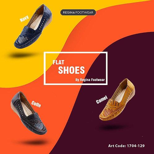 Regina Flat Shoes Wanita - Motif - Coffe,Camel,Navy 1704-129 Size 36-41