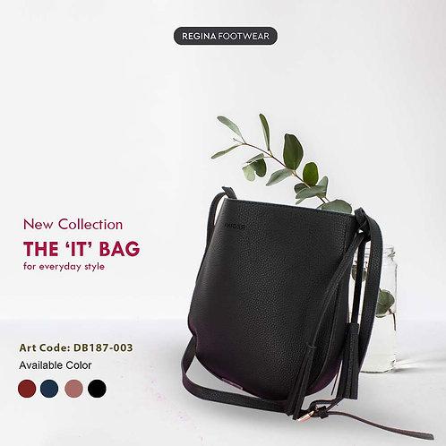 REGINA - NEW Premium Grain Leather Shoulder Bag Wanita (with Tassel) DB187-003