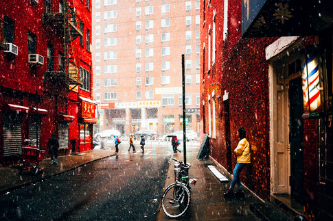 Snow in China town.