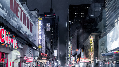 Rainy night in Time square.