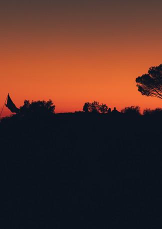 Camping at sunset.