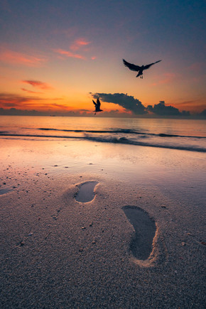 Footsteps.