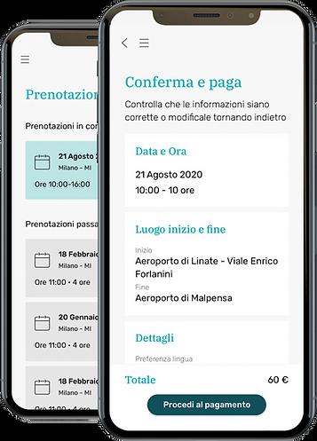 Alfie App, la schermata riassuntiva prima del pagamento, con i dettagli del servizio richiesto e il costo finale.