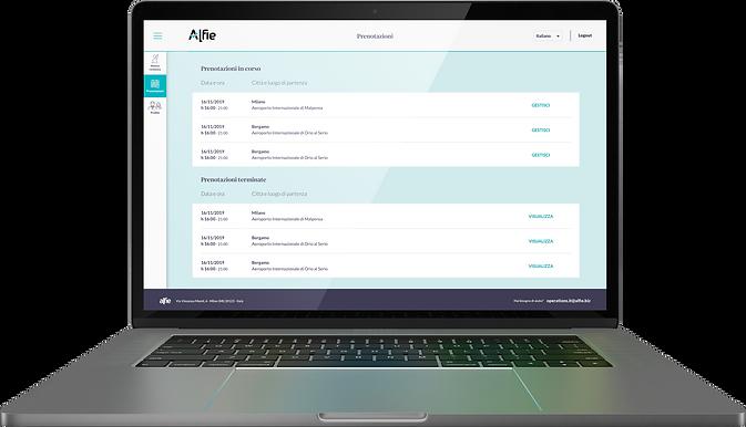Piattaforma Desktop Alfie per Aziende, la schermata della dashboard con tutte le prenotazioni di assistenti personali attive e quelle già terminate.