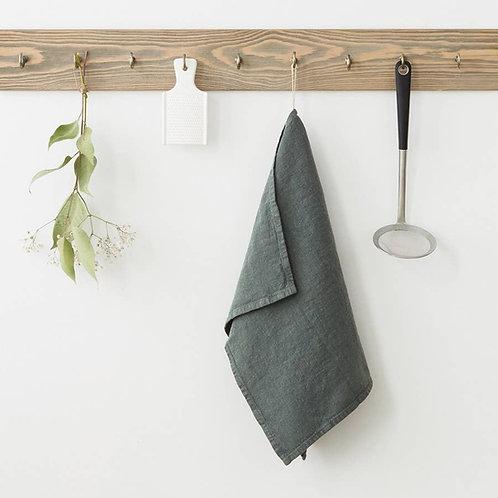Linen Kitchen Towel - Forest Green