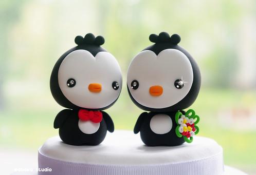Penguins Wedding Cake Topper / Kawaii Cake Topper Figurines, Wedding ...