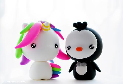 Wedding Cake Topper / Kawaii Baby Unicorn and Penguin / Wedding ...
