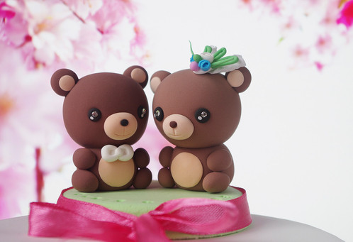 Bears Wedding Cake Topper Kawaii Figurines Centerpiece