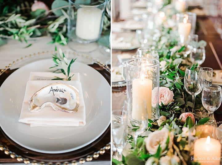 Table runner of greenery