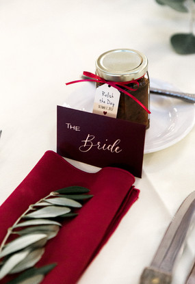 Olive greenery on place setting
