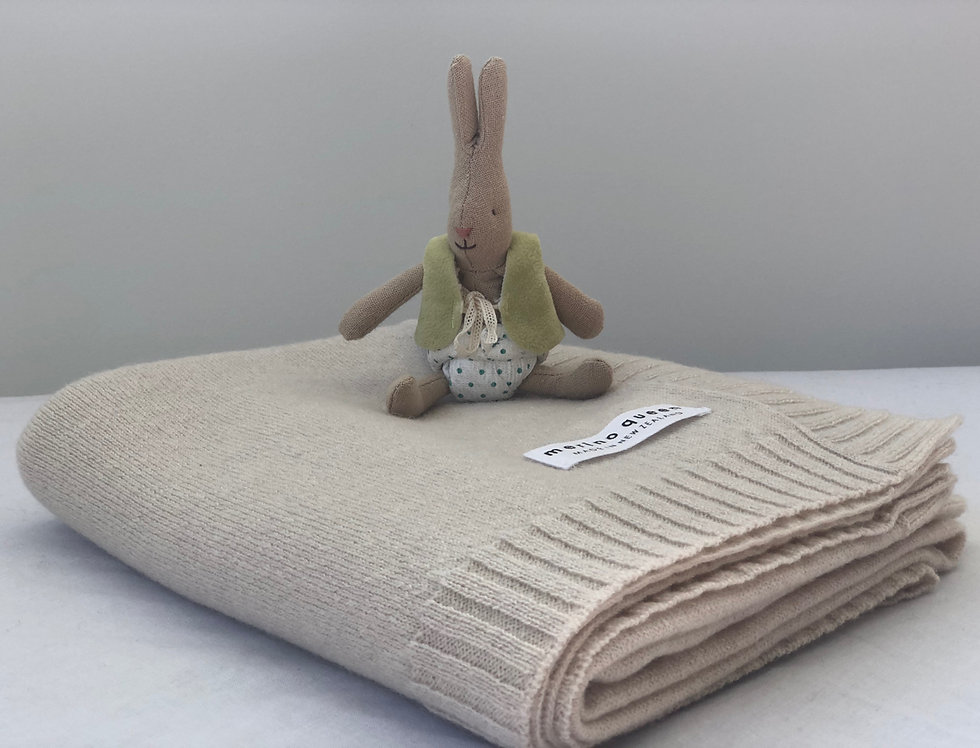 Cashmere Merino Baby Blanket - Sand