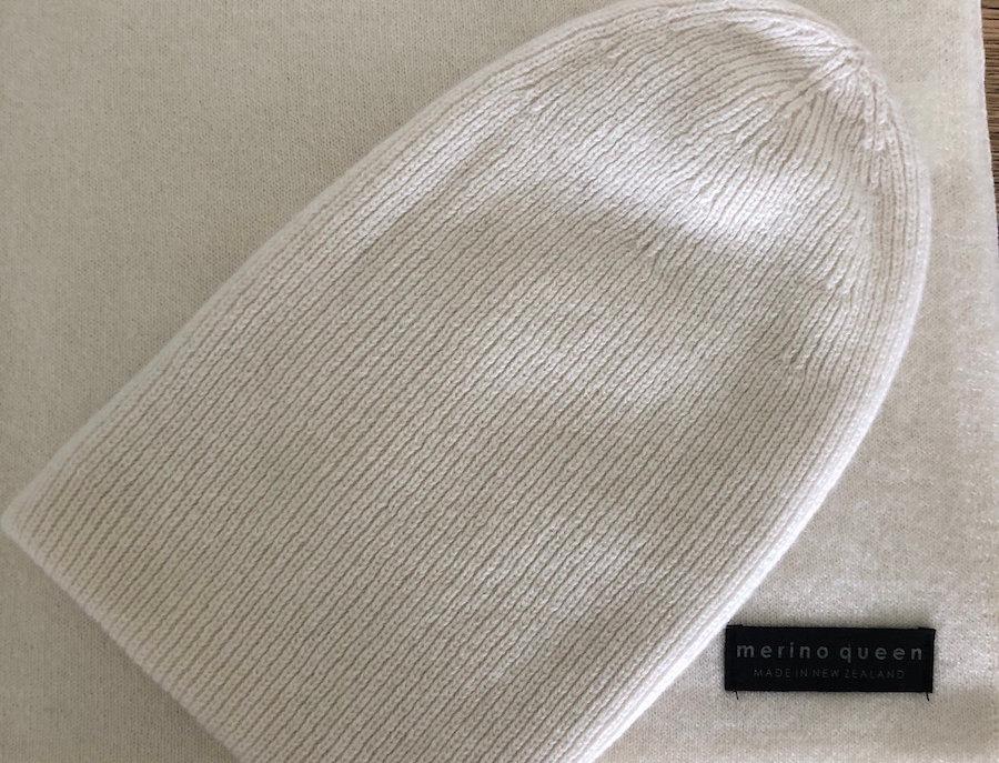 Cashmere Merino Beanie - Soft White