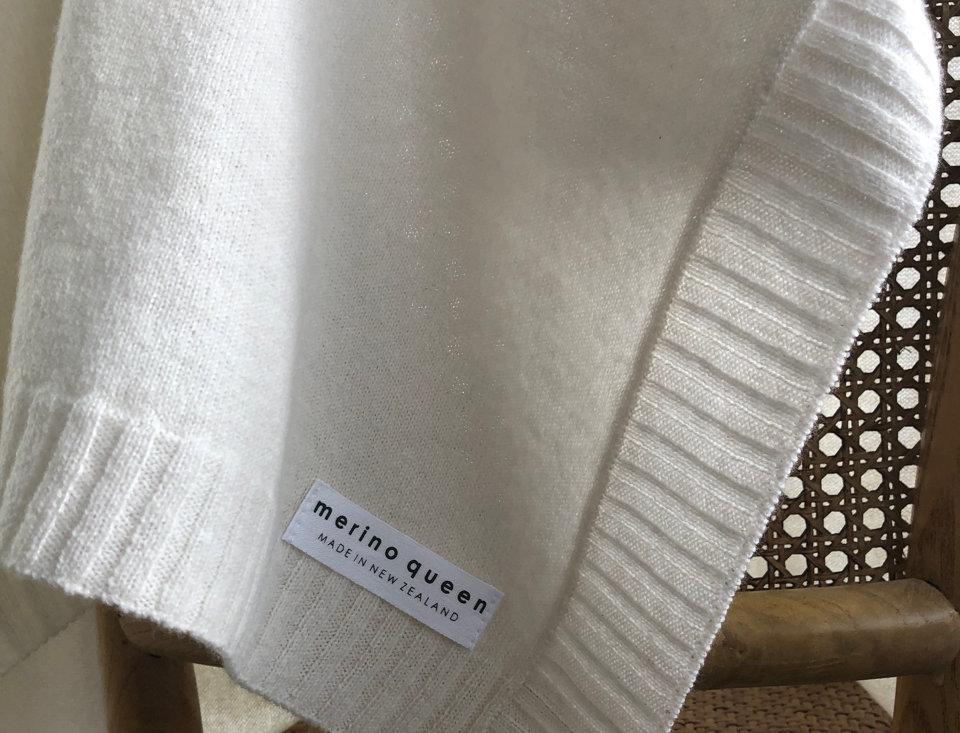 Cashmere Merino Baby Blanket - Soft White