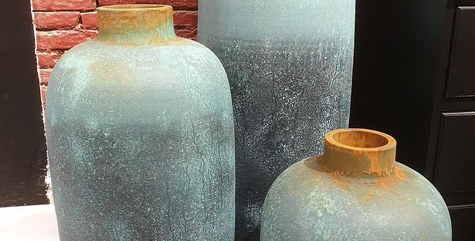 Grand vase bleu d'indonésie
