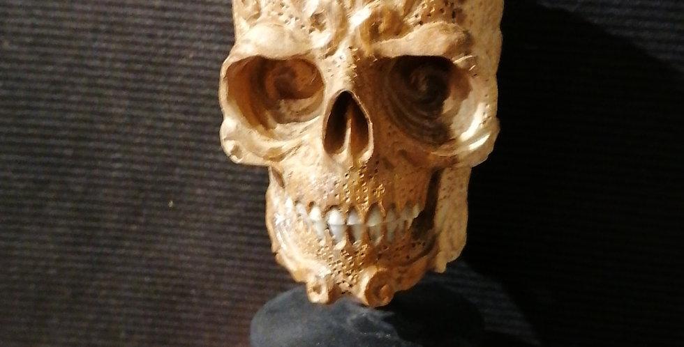 Crâne en bois et os