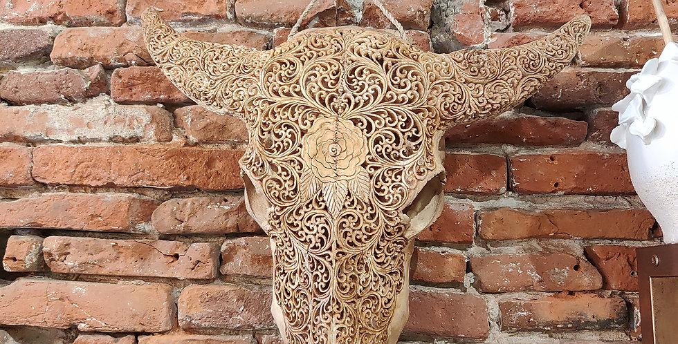 Crâne buffle marron