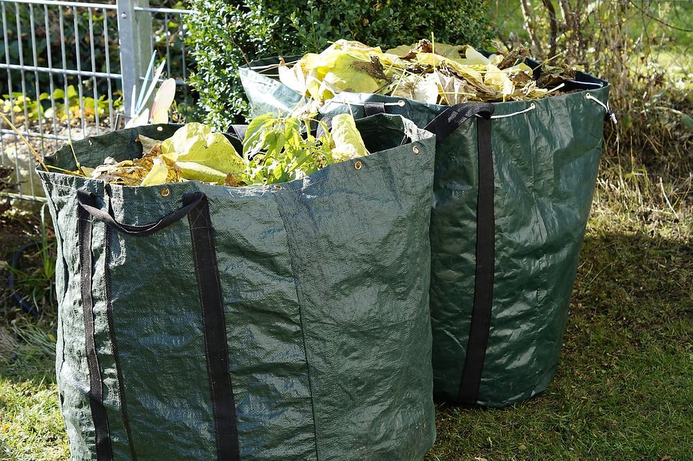 Yard waste is bags