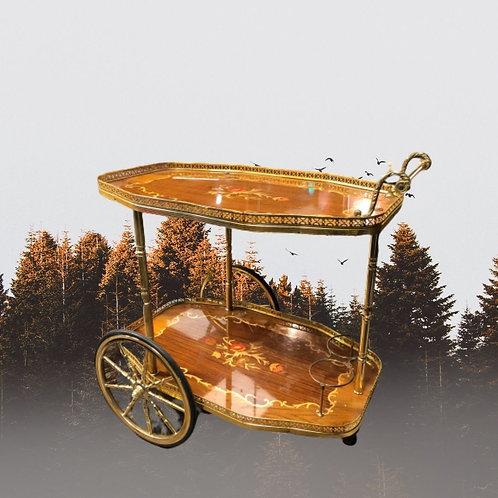 Desserte roulante doré vintage