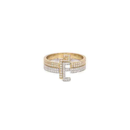 Two Character Thick Duo Rings- All set in Diamonds