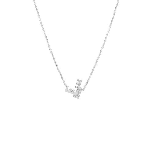 Necklace with Two Letters- One set in Diamonds