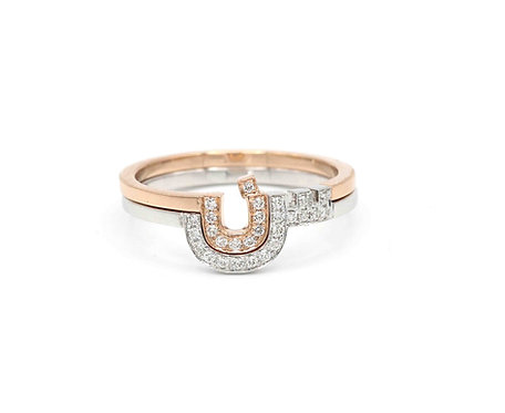 Two Character Duo Rings- Two letters set in Diamonds