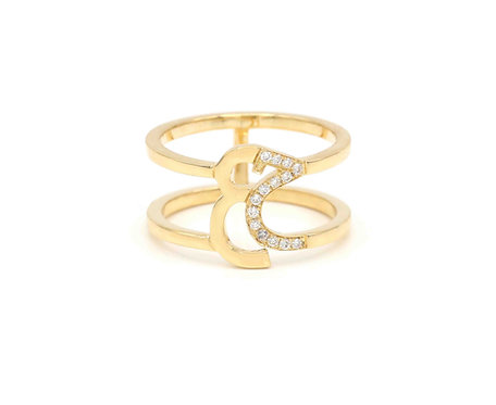Double Banded Ring- One letter set in Diamonds