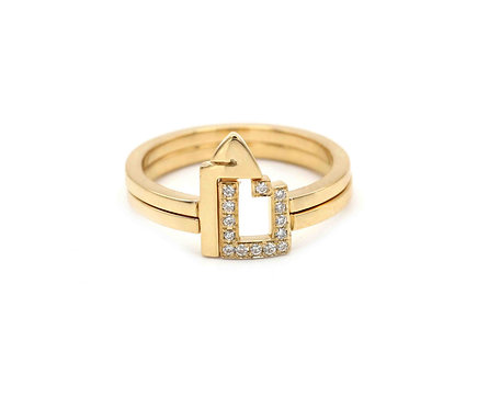 Two Character Duo Rings- One Letter Set in Diamonds