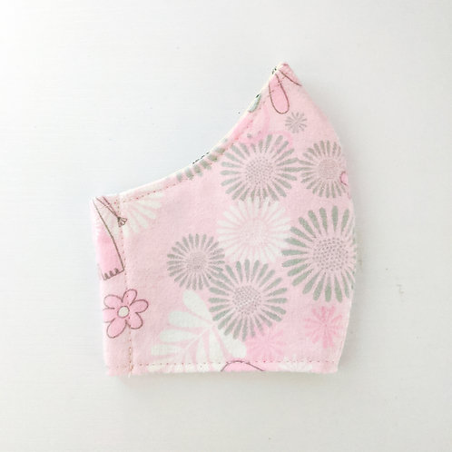 White & Grey Floral Elephant on Pink Mask