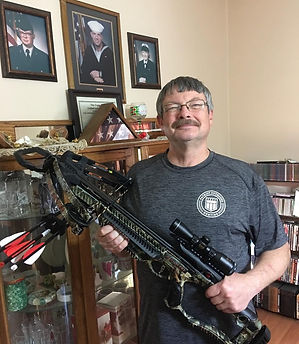 Terry West, Desert Storm vet with crossbow from Patriot Outdoors Hunting