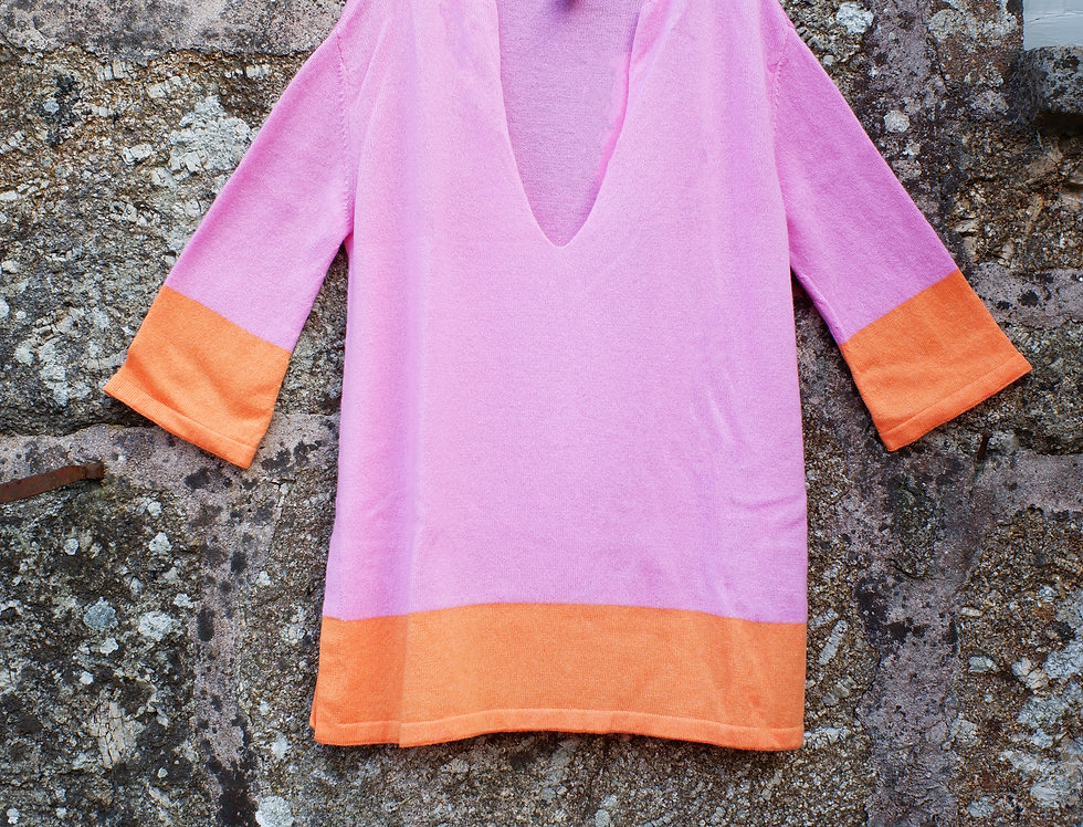 Short Hot Pink Cashmere Caftan
