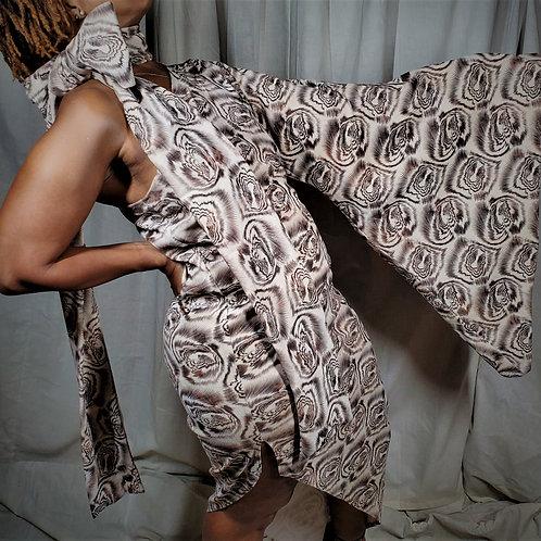 Muted Tiger Dress One Shoulder Oversized Sleeve