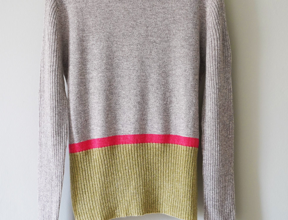 Stone & Olive Green Classic Round Neck Jumper