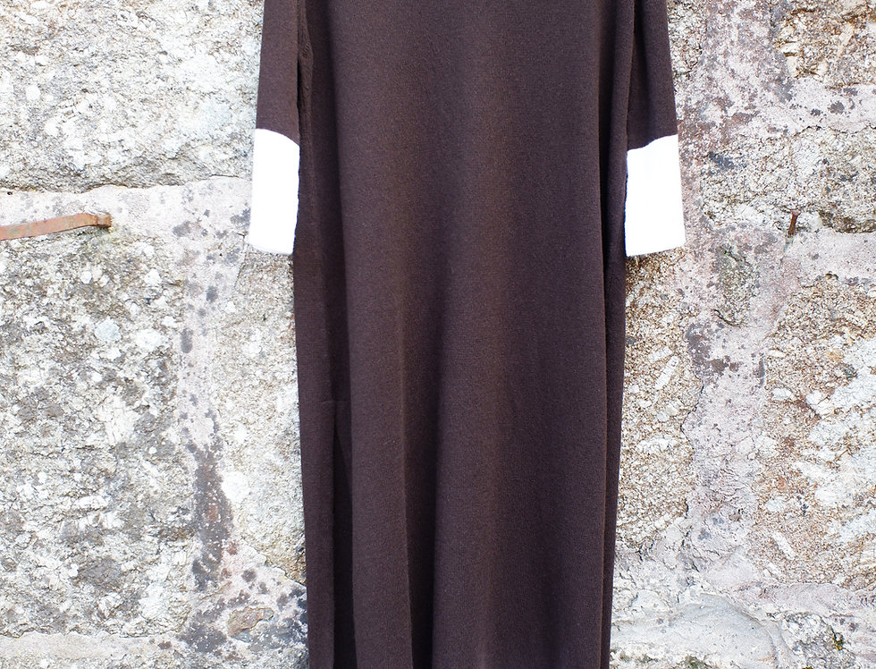 Long Chocolate Brown Cashmere Caftan