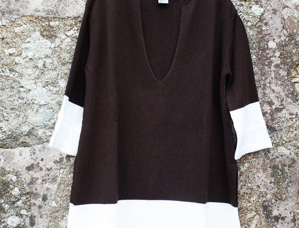 Short Chocolate Brown Cashmere Caftan