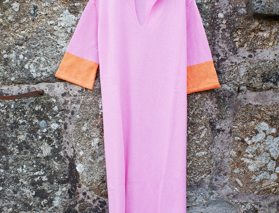Long Hot Pink Cashmere Caftan