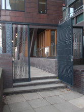 Contemporary style fabricated steel gate.