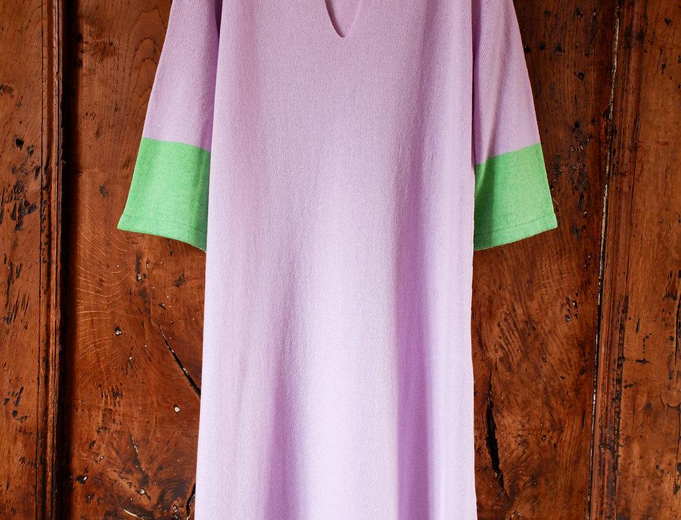 Long Pale Pink Cashmere Caftan