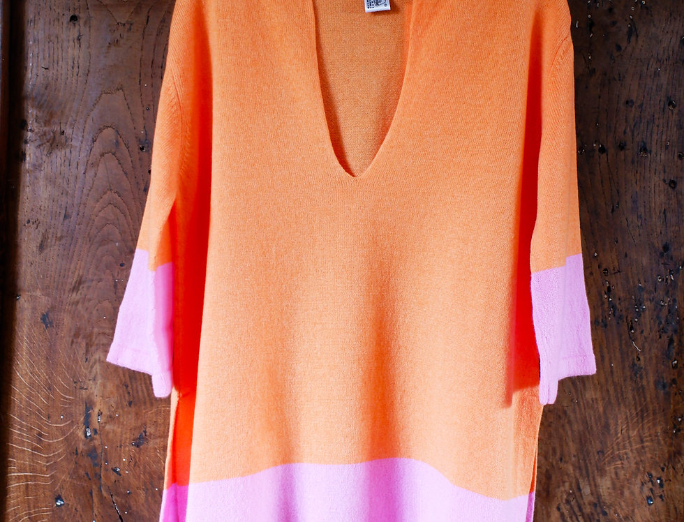 Short Orange Cashmere Caftan